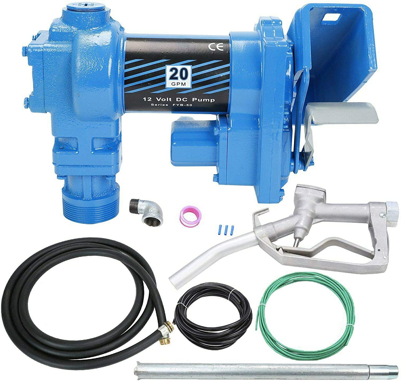SUPERFASTRACING 20GPM 12V DC Gasoline Fuel Transfer Pump w/Nozzle Kit for Gas Diesel Kerosene