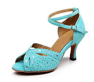 Miyoopark , Damen Tanzschuhe , Türkis - Turquoise-7.5cm Heel - Größe: 35.5