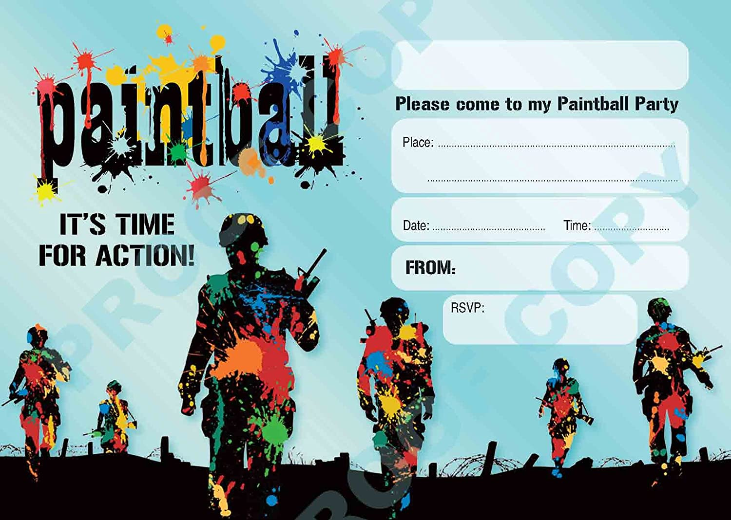 PAINTBALL #56 PARTY INVITATIONS childrens kids party invites Pack of ...