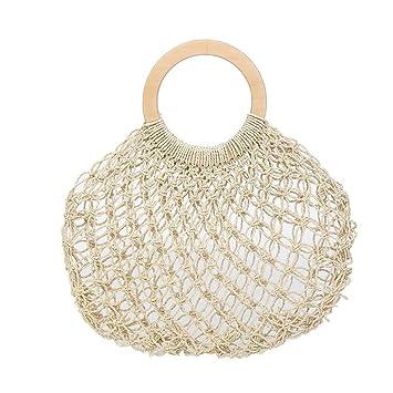 Las bolsas de asas tejidas a mano para mujer de la hierba de ...