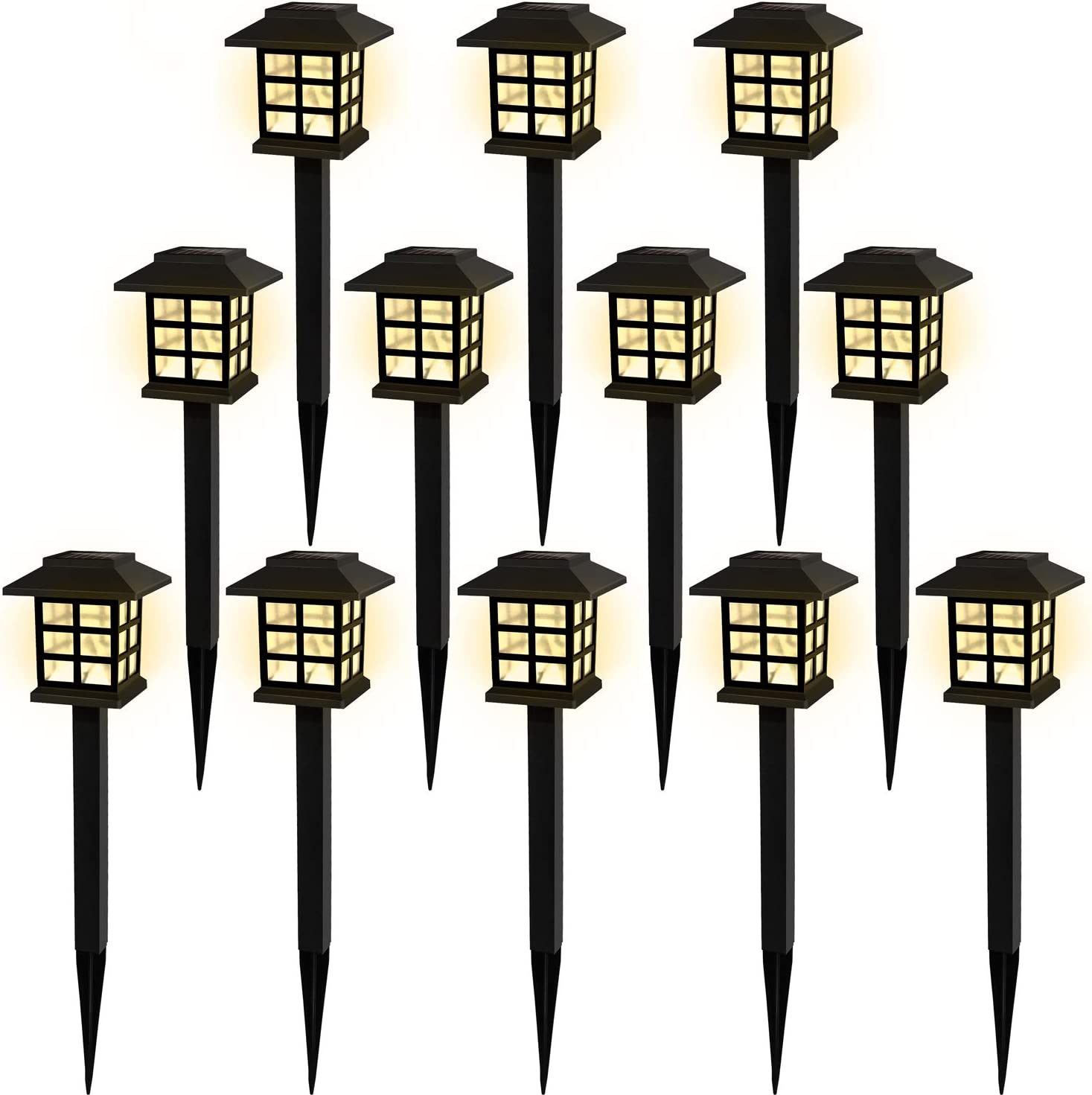 Solar Pathway Lights Outdoor Garden Lights Solar Powered Led Lawn Landscape Decoration Waterproof for Walkway Yard Driveway Backyard White Light Warm White 12 Pack