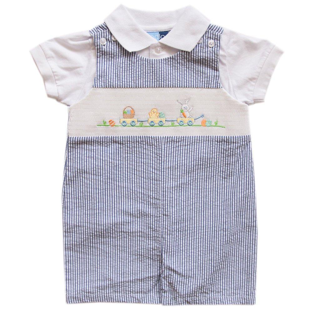Baby Goodlad Baby Boys Seersucker Shortall Set with Bunny Applique