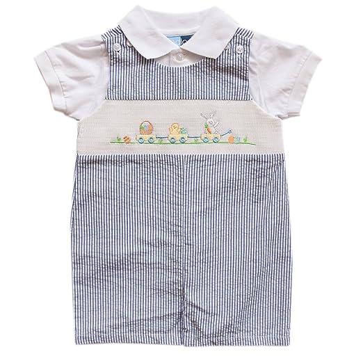 77f529099b Baby Goodlad Baby Boys' Seersucker Shortall Set with Bunny Applique