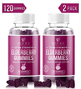 (2 Pack | 120 Gummies) Organic Elderberry Gummies for Adults Kids Toddlers with Echinacea, Vitamin C, Zinc, Propolis - Sambucus Black Elderberry Gummy Extract - Better Than Capsules Syrup