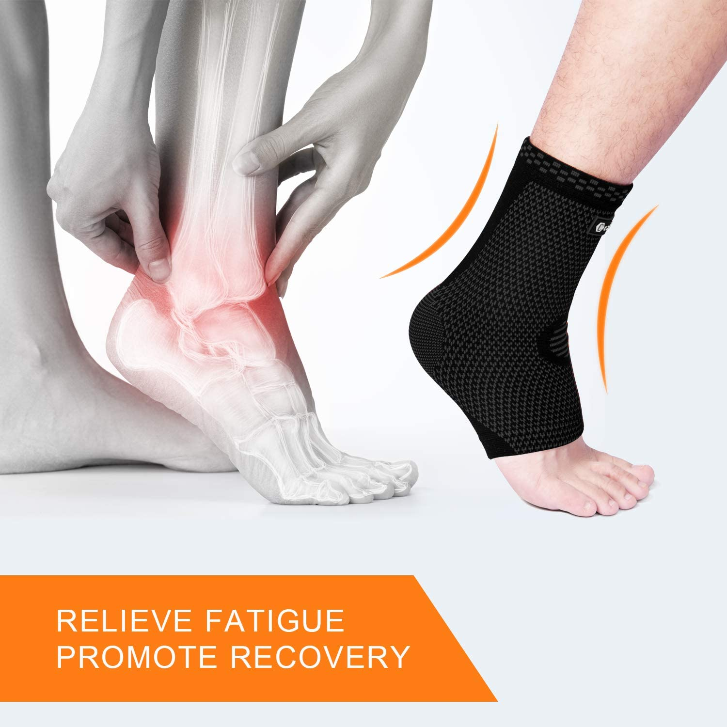 Achilles Tendonitis Swelling Plantar Fasciitis Foot Socks with Arch Support for Injury Recovery CAMBIVO 2 Pairs Ankle Brace Compression Sleeves Support for Women and Men Heel Spurs
