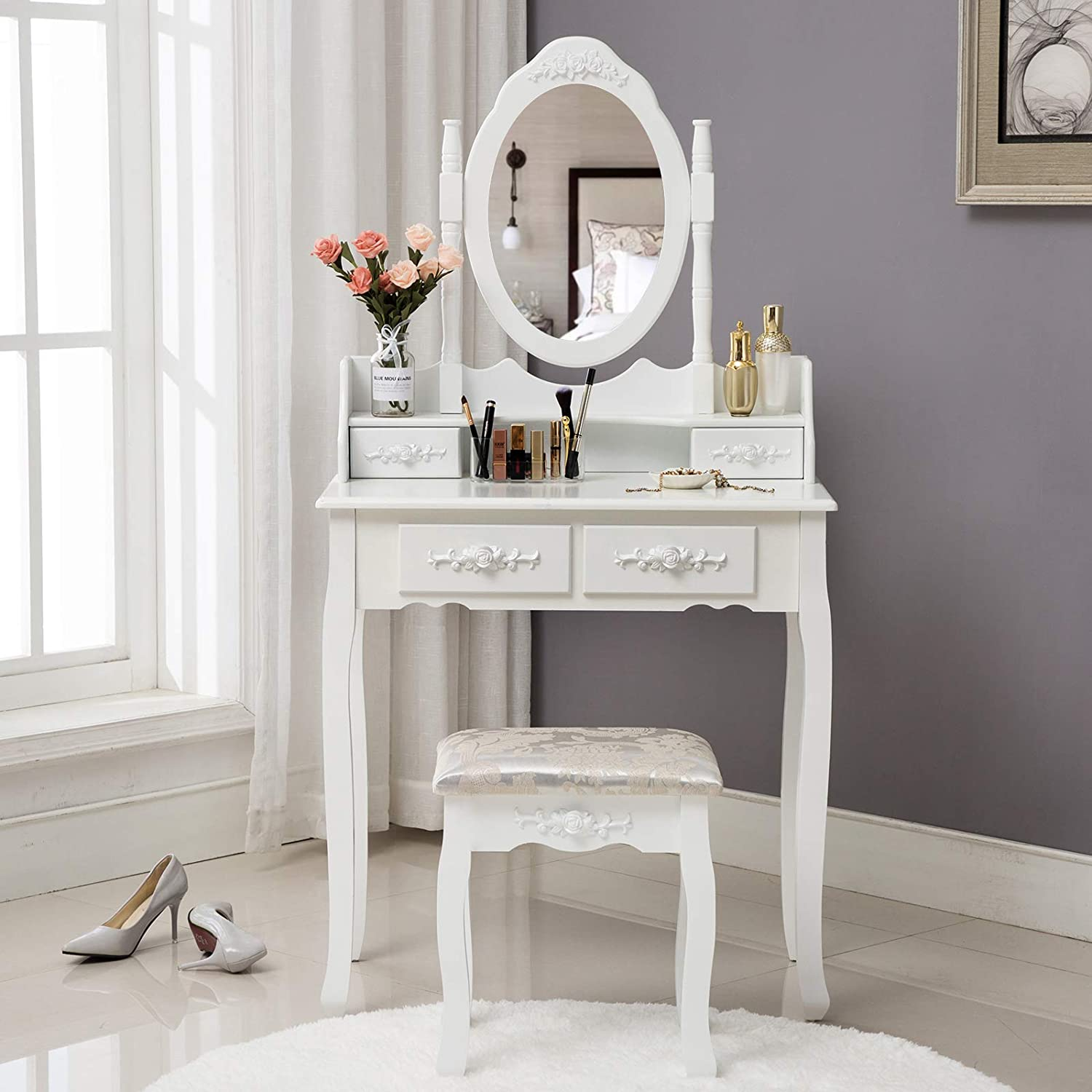 HONBAY Makeup Vanity Table Set and Cushioned Stool with Oval Mirror, 4 Drawers Dressing Table White