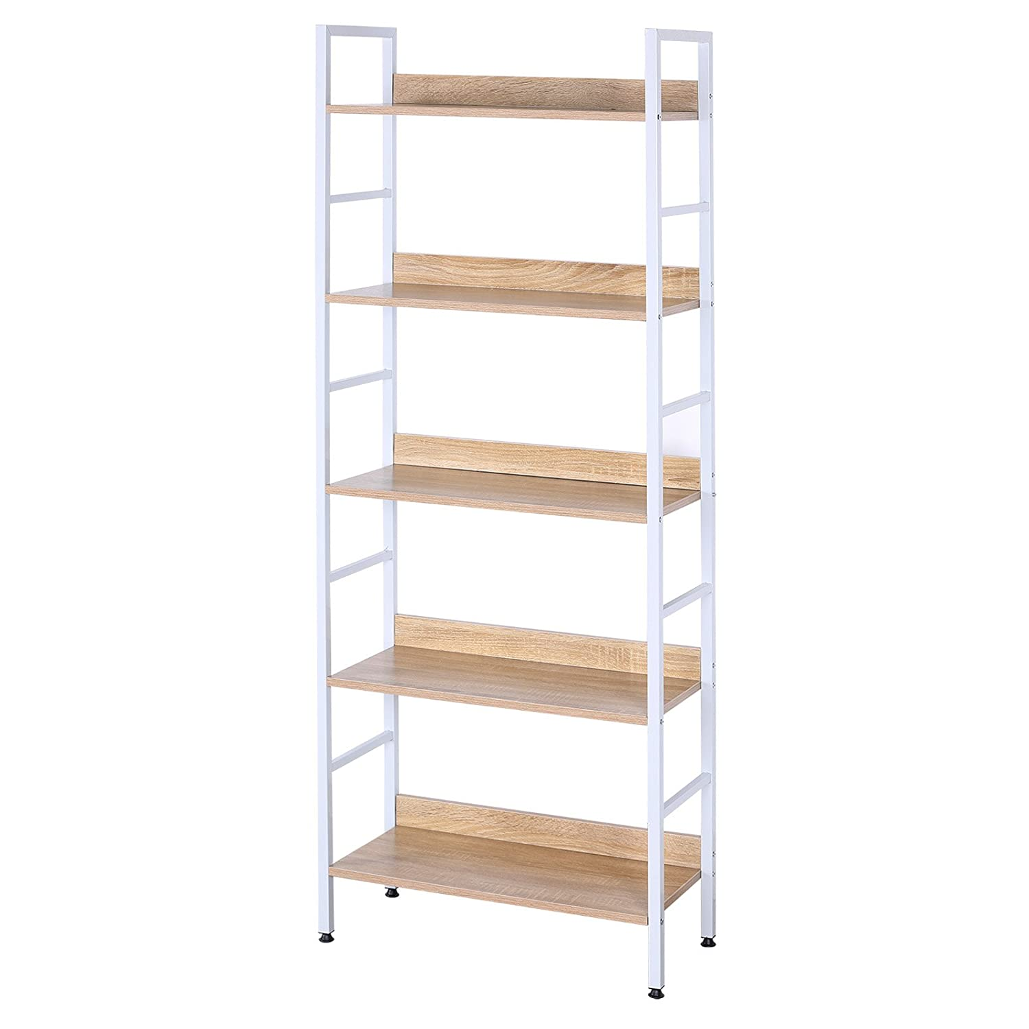 EUGAD Heavy Duty 5 Tiers Bookcase Storage Books Wooden&Metal White