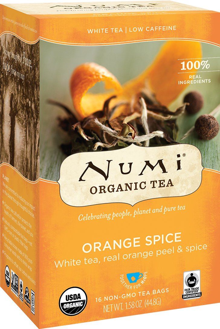 Numi Organic Tea Orange Spice, 16 Count Box of Tea Bags (Pack of 6), White Tea