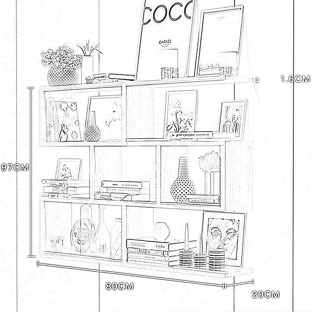 partizione in Legno massello Colore : Bianca scaffale per Libri Parete sospesa libreria Creativa Camera da Letto FEI Mensole Mensola a Muro Armadio a Muro