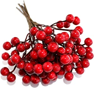 Artificial Berries Red Pip Berry Stems Spray for DIY Crafts – Wreath, Garland, Christmas Ornaments Decoration - Decorative Winter Floral Picks for Craft Decorations/Home Holiday Decor