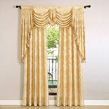 Helen Curtain European Jacquard Royal Luxury Valance Curtains For Living  Room Window Valance Swags U0026 Tails