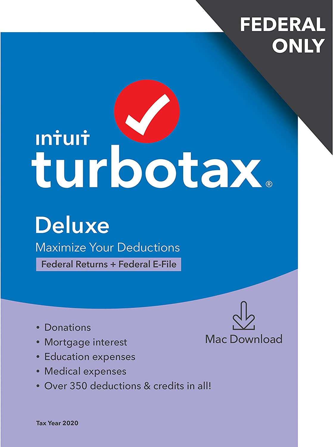 TurboTax Deluxe 2020 Desktop Tax Software, Federal Returns Only + Federal E-file [Amazon Exclusive] [MAC Download]