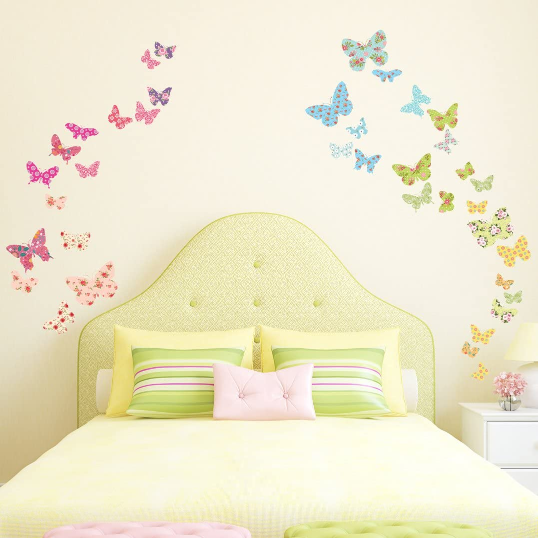 DECOWALL DW-1408 Patterned Butterflies Kids Wall Stickers Wall Decals Peel and Stick Removable Wall Stickers for Kids Nursery Bedroom Living Room décor
