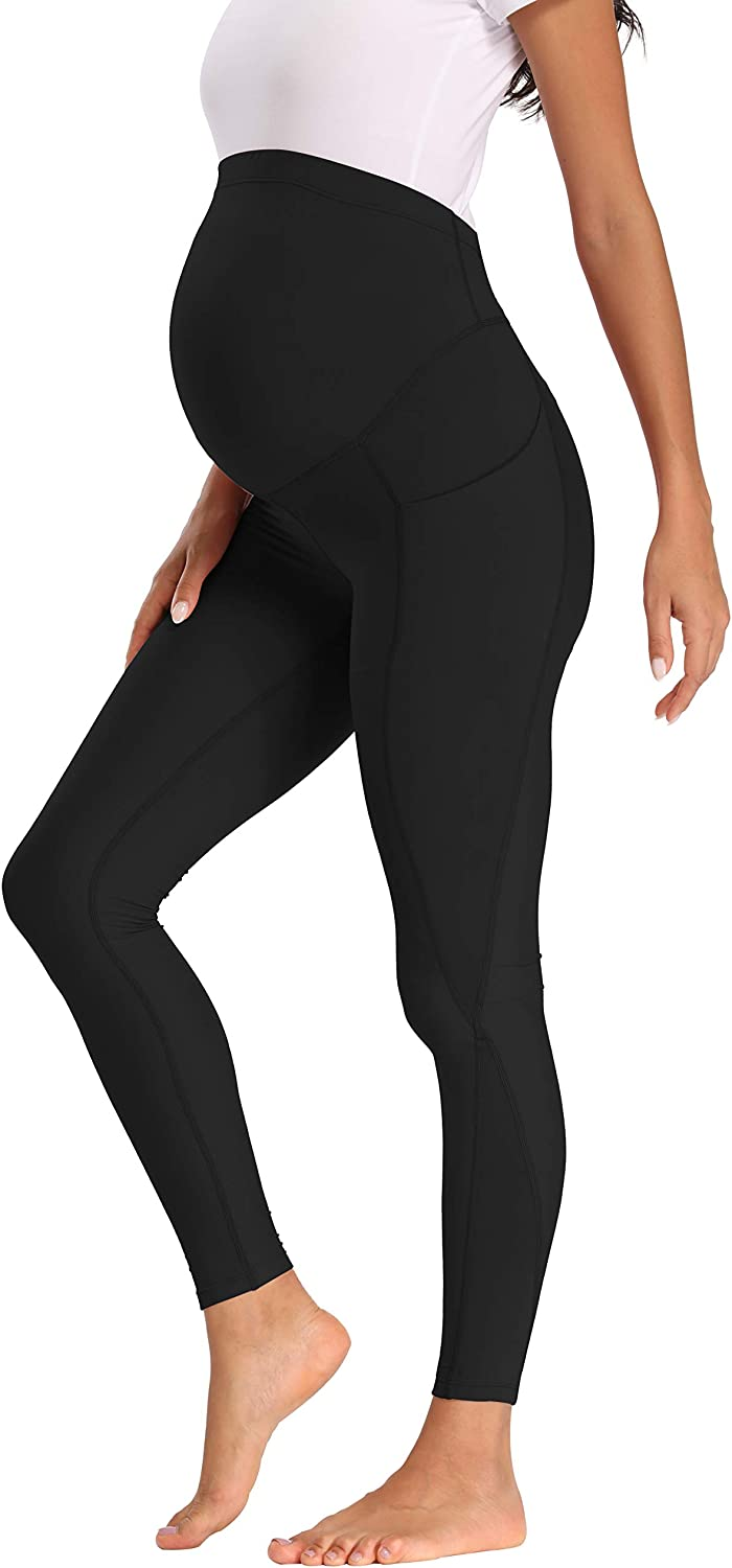 Foucome Maternity Leggings Over The Belly Comfy Stretch Pull On Workout Pants With Pockets At Amazon Women S Clothing Store