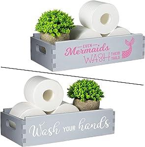 TJ.MOREE Mermaid Decor-Even Mermaids Wash Their Tails/Wash Your Hands Bathroom Signs-Mermaid Gifts for Girls-2 Sides of Bathroom Decor Box Toilet Paper Storage Farmhouse Bathroom Decor