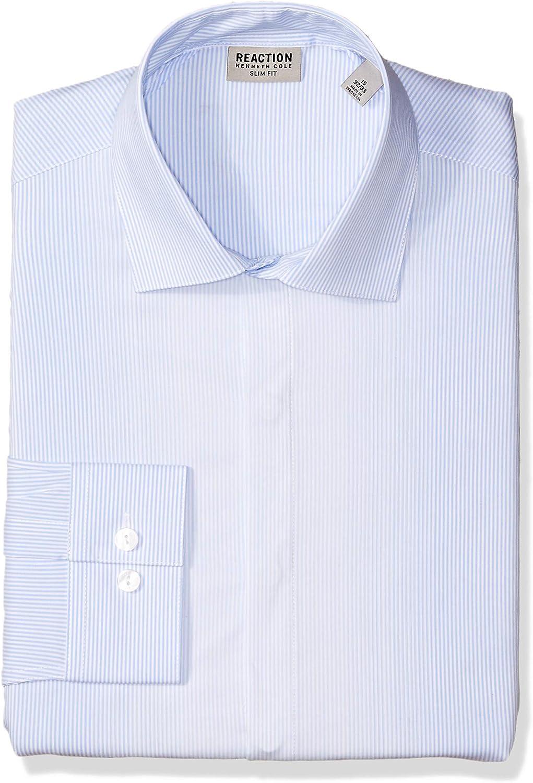Kenneth Cole REACTION Mens Dress Shirt Slim Fit Technicole Stretch Stripe