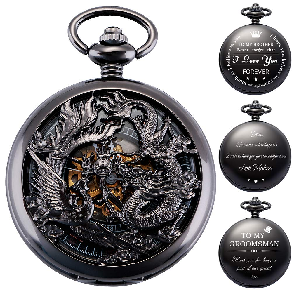 ManChDa Mens Antique Mechanical Pocket Watch Lucky Dragon & Phoenix Retro Skeleton Dial with Chain + Gift Box (4.1 Personalized)