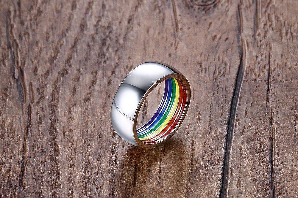 Joielavie Bague Anneau Arc-en-Ciel Rainbow Striped Band Gay Lesbienne Soeur Fiert/é Acier Inoxydable Cadeau Bijoux