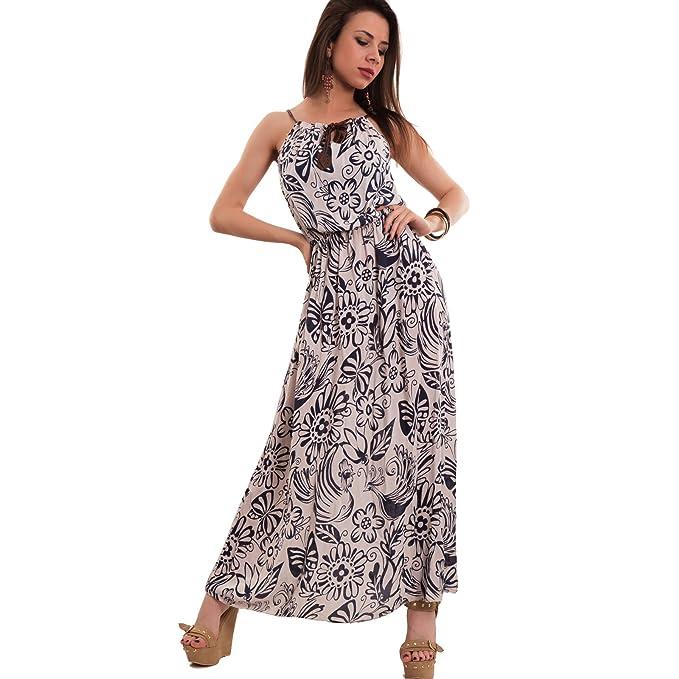 buy online 788ff 3c521 Toocool - Vestito Donna Lungo Abito Fiori Foglie Bretelle ...