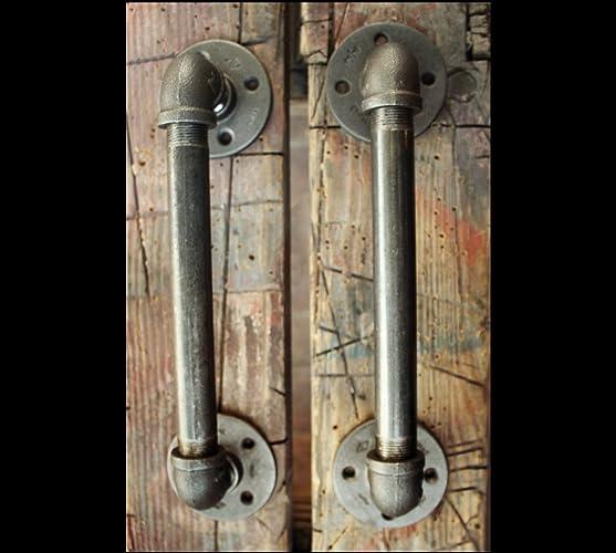 Bon 2 Industrial Door Handles   Black Pipe Door Pulls, Industrial Pipe Door  Handle, Steampunk
