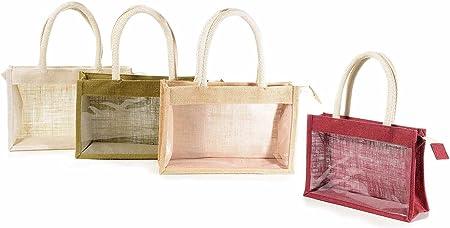 Bolsa de yute con ventana, cremallera y asa de cuerda de algodón: Amazon.es: Hogar