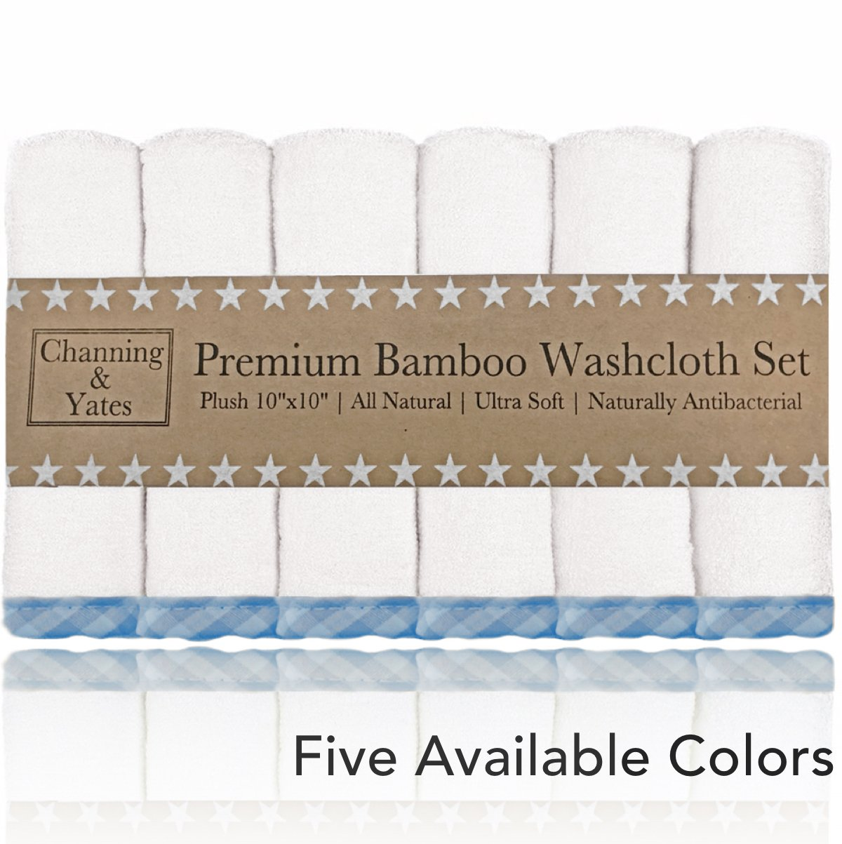Premium Bamboo Baby Washcloths - (6-Pack) Organic Wash Cloths 2X Thicker & Softer - 10 x 10 in - Perfect for Eczema (Blue)