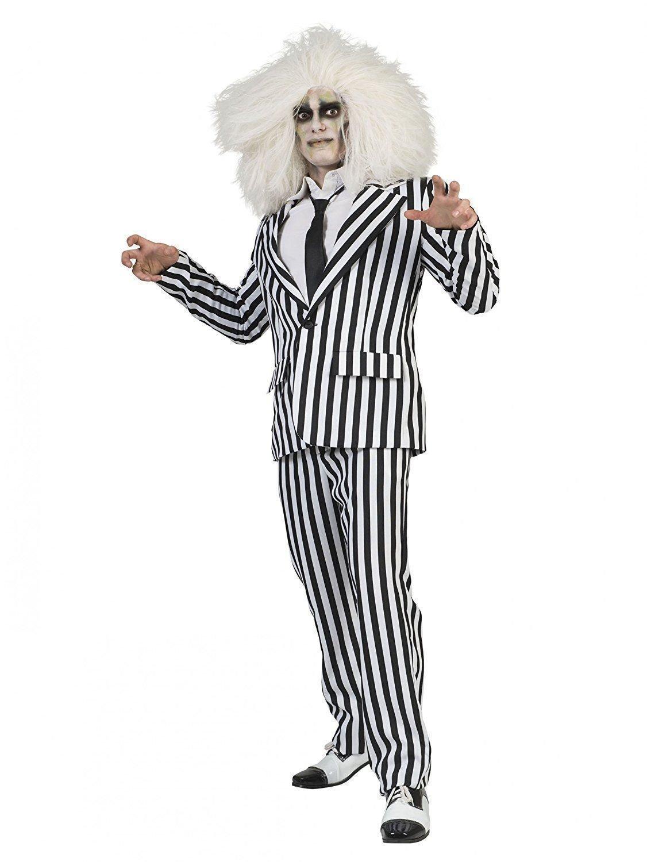 Generique - Kostüm Kostüm Kostüm schwarz weiß Gestreifter Anzug für Erwachsene 28ccf5