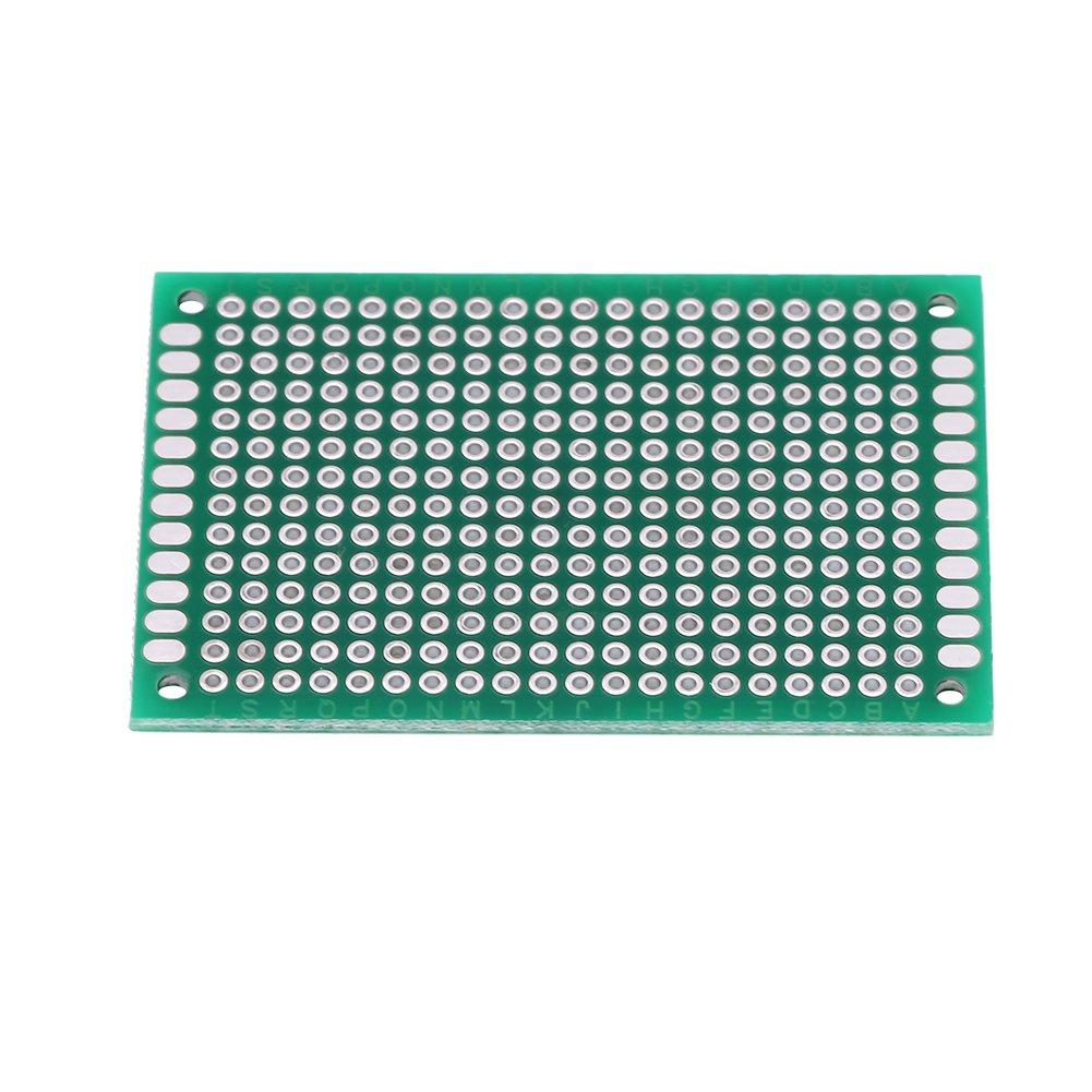 Placa de prototipos de 10 piezas placa de rejilla lateral doble de 4 /× 6 cm Accesorios para proyectos electr/ónicos de soldadura de PCB DIY
