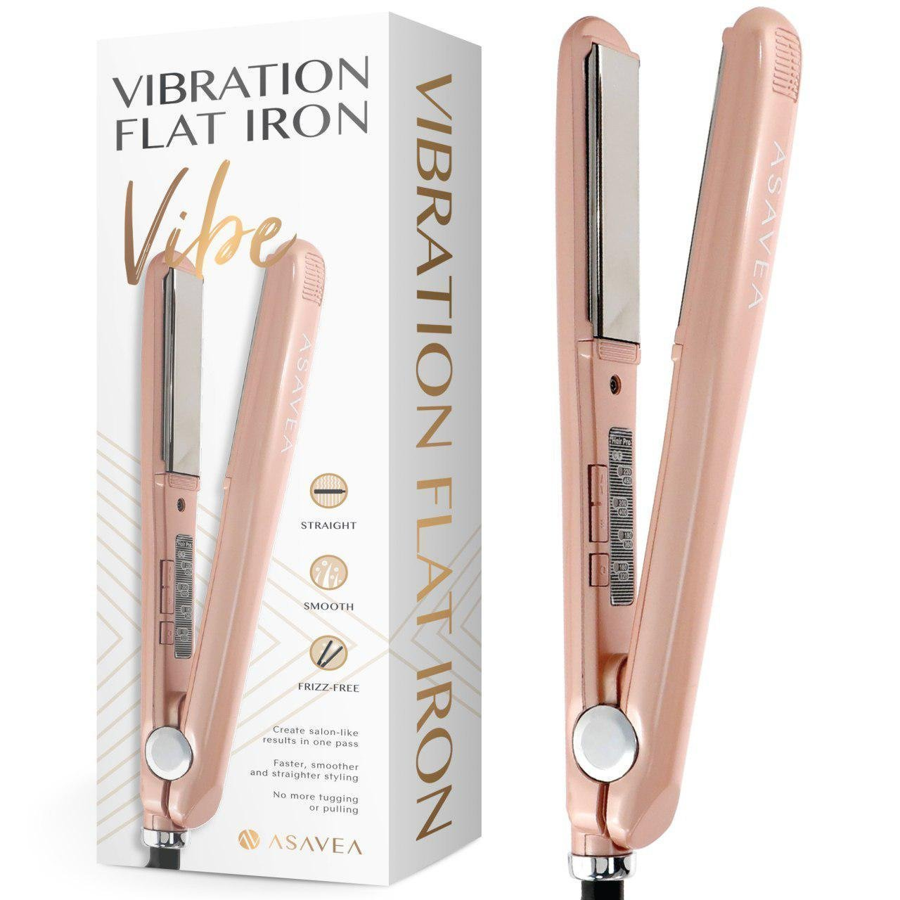 AsaVea Vibration Flat Iron Ceramic Tourmaline Ionic Hair Straightener, Vibration Technology for Salon-Like Results in One Pass