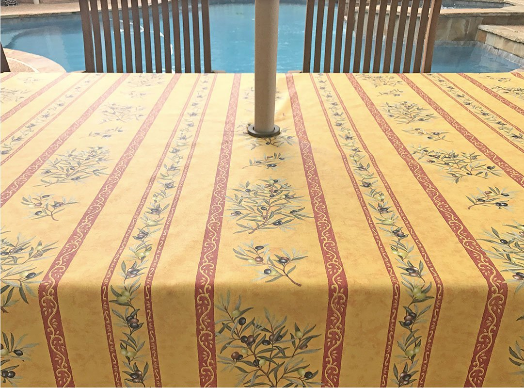 Umbrella Hole Rectangle or Oval Stain Resistant Tablecloth - Please choose the size and shape - Easy Care Provence Branches in Gold Tablecloth -