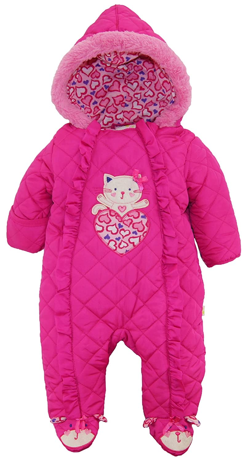 ef06f9555 Cute animal applique. Fold over hands. Asymmetrical one full front zip for  easy on and off. Hooded with trim. Footed.