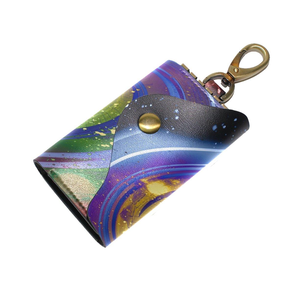 KEAKIA Universe Yin Yang Leather Key Case Wallets Tri-fold Key Holder Keychains with 6 Hooks 2 Slot Snap Closure for Men Women