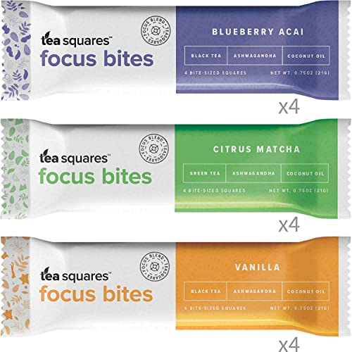 Energy Bites for Mental Energy, Focus, and Clarity Variety Pack – 12 count 100 cal, 4g plant-protein, 3-4g sugar, Delicious Tasting, Protein Bars, Energy Bars, Gluten Free, Vegan – TeaSquares