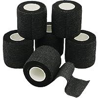 YuMai 6 Rollen Selbsthaftende Bandage, Wundverband, Sport Elastischer Verband, 5cm x 4.5m - Schwarz