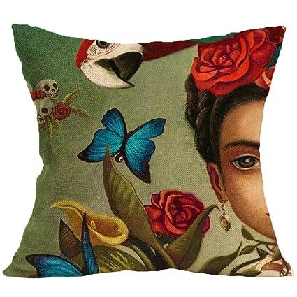 JLHua Frida Kahlo Self-portrait Cotton Linen Pillow Case Cover,18