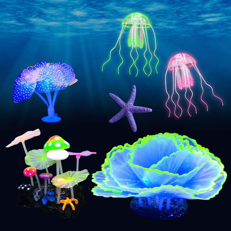 Beisela 6 Pack Glowing Aquarium Decorations Simulation Glow Plant for Fish Tank Decorations, with Glow Mushroom, Jellyfish, Coral, Starfish