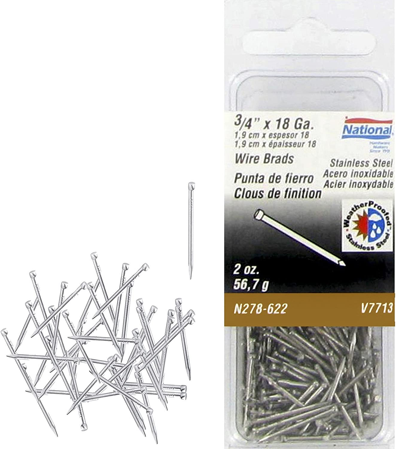 """Stanley National N278-622 Manufacturing 18 Gauge 3/4"""" Stainless Steel Wire Brads 2 oz Package"""