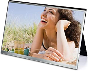 Lasitu Ultral Thin&Lightweight 15 Inch Portable Monitor for Laptop/Cellphone/PC/Switch/DSLR Camera/Xbox HDMI USB C 1080P HD IPS HDR Screen with Screen Protector&Stand Case