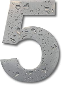 Earl Diamond Modern House Number - 6 Inch Floating Appearance Home Address Numerals Sign Made of Solid Brushed Stainless Steel and Easy to Install (Number - 5)