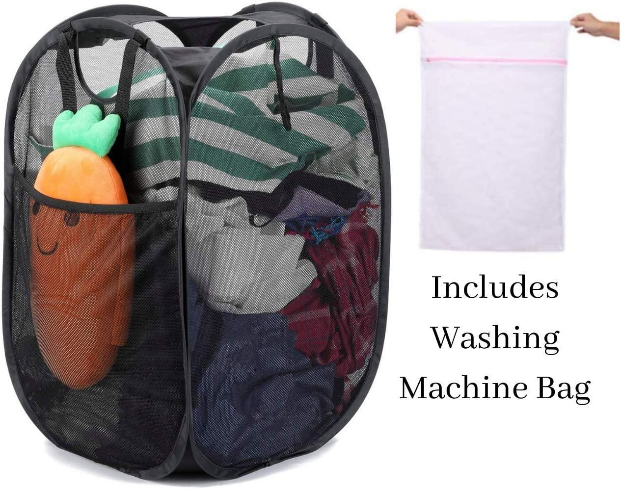 Cwtch Living Cesta plegable para la colada con asas y delicados bolsa de lavandería desplegable | Ahorro de espacio para estudiantes | Cesta plegable negra | UK Company