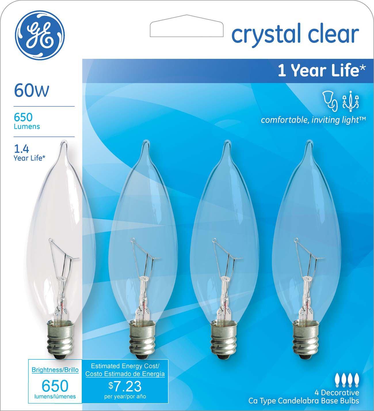 Ge lighting crystal clear 76239 60 watt 650 lumen bent tip light ge lighting crystal clear 76239 60 watt 650 lumen bent tip light bulb with candelabra base 16 pack incandescent bulbs amazon arubaitofo Gallery