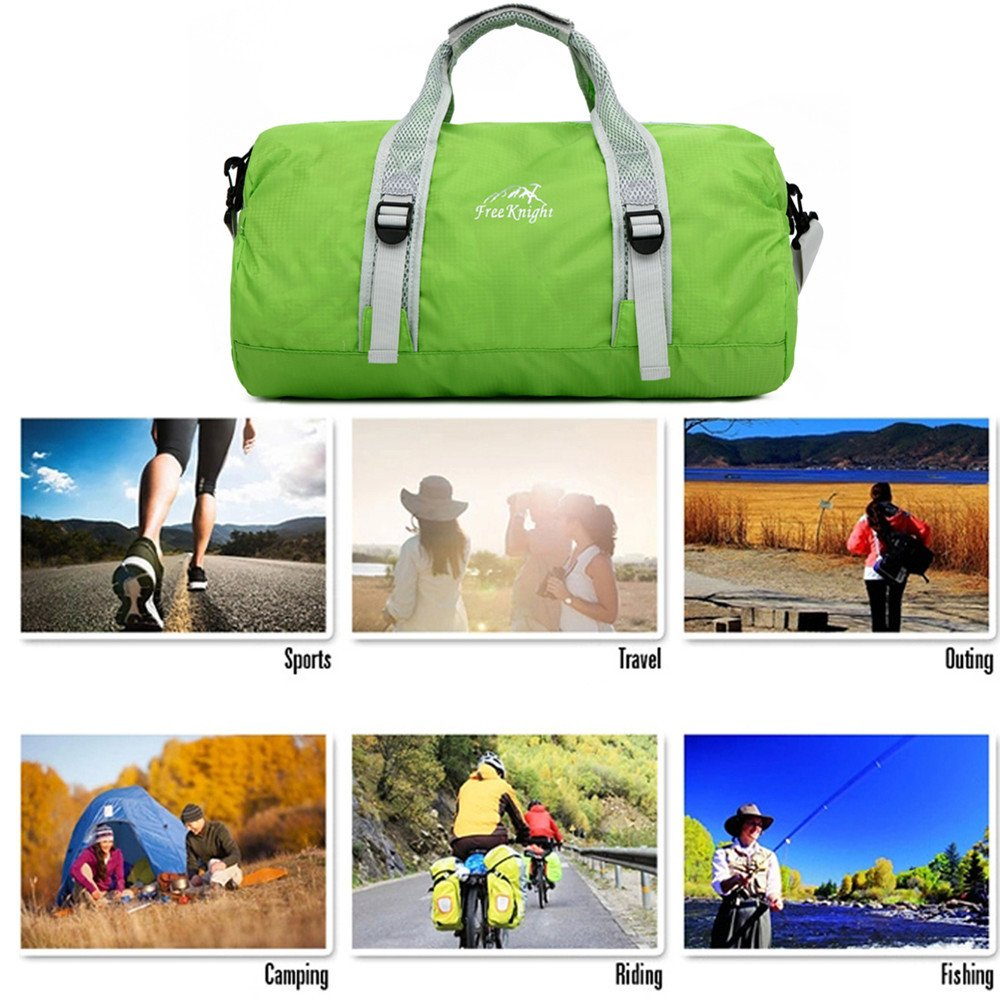 Businda Sports Duffel Bag, Waterproof Nylon Sport Handbags Ultralight Folding for Hiking Travel Sport Training Handbag for Men Women