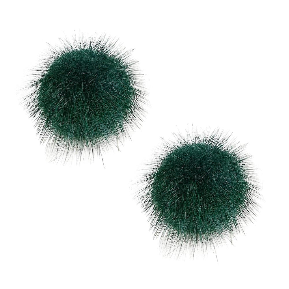 ZAKIA Women' Fluffy Mink Fur Pom Removable Shoe Clips Clutch Wedding Decoration Pack of 2 (Dark Green) by ZAKIA
