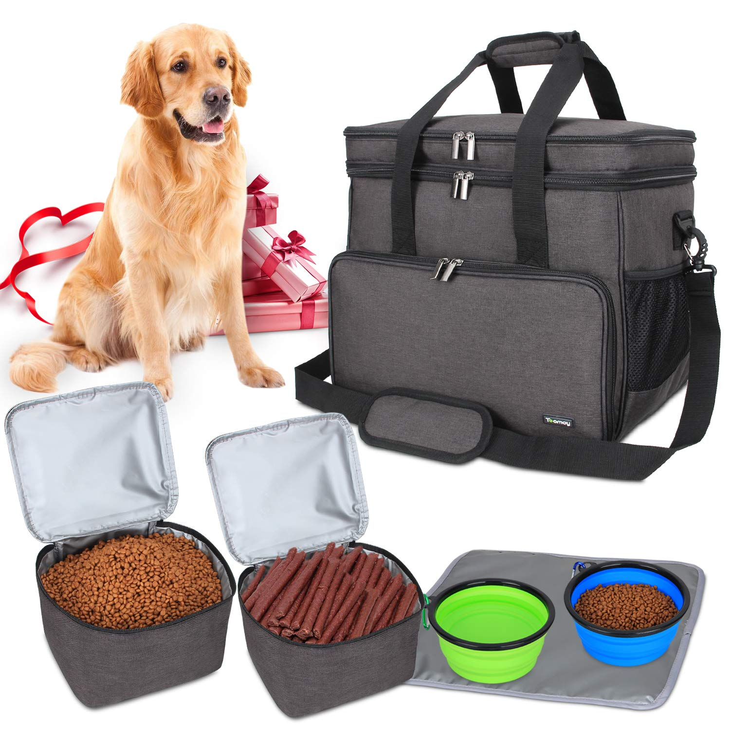Black LargeTeamoy Travel Bag for Dog Gear, Dog Travel Bag for Carrying Pet Food, Treats, Toys and Other Essentials, Ideal for Travel, Camping or Day Trips (Large, Grey)
