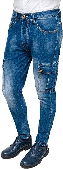 Vaqueros para hombre Cargo Azul Denim Casual Slim Fit con bolsillos laterales Evoga