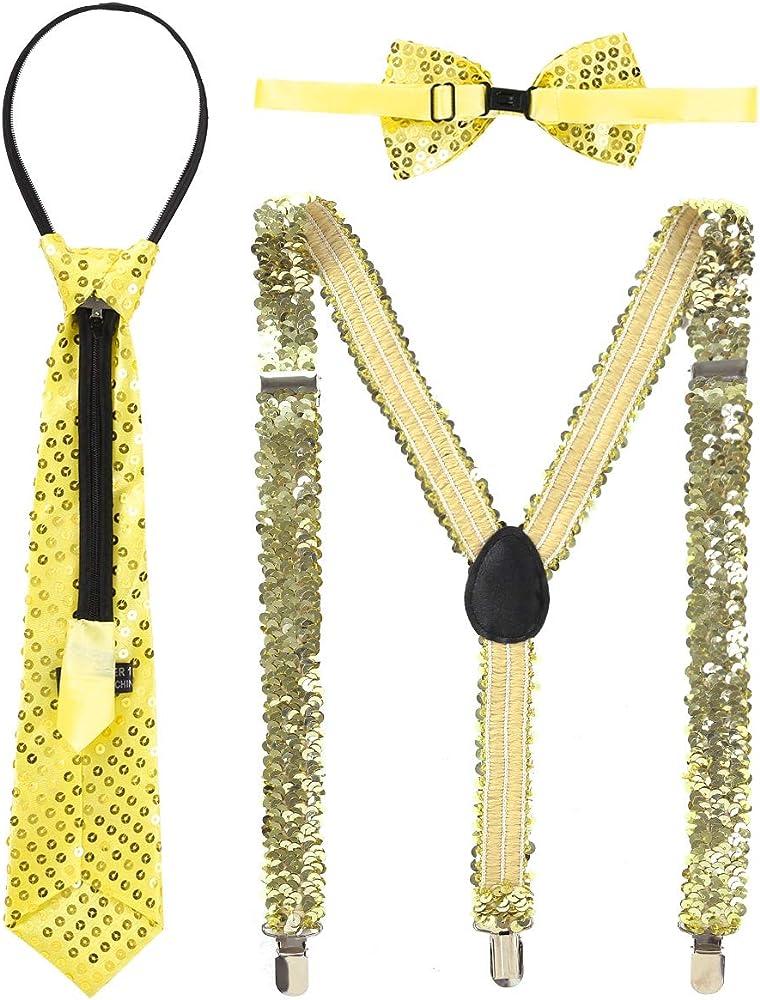 MSemis Tirantes de España Mujer Hombre Disfraz Hippies 80 Tirantes con Pinzas Pajarita para Pantalones Tirantes Ajustables Disfraces Despedida Dorado Talla Única: Amazon.es: Ropa y accesorios