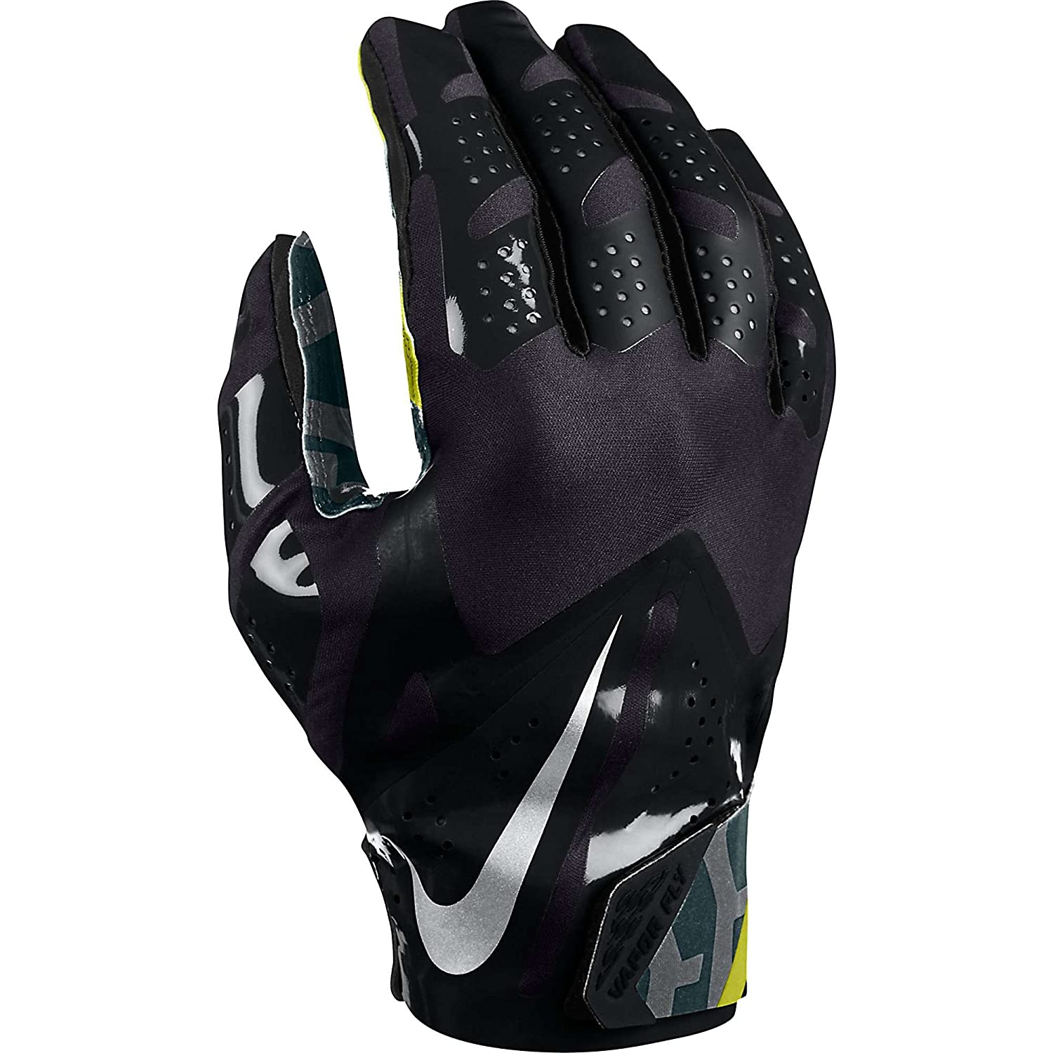 8e31babad62fa Amazon.com   Men s Nike Vapor Fly Reciever Football Glove Black Black Black Metallic  Silver Size Small   Football Receiving Gloves   Sports   Outdoors