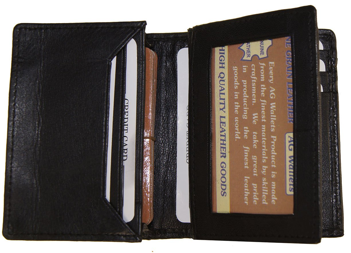 AG Wallets Genuine Leather Expandable Credit/Business Card Wallet With Flip-Out ID