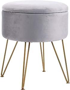 IBUYKE Velvet Round Footrest Stool Ottoman, Velvet Dressing Table Seat Pouf Couch Stool Golden Steel Legs Removable Cover, Linen RF-005