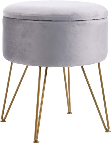 IBUYKE Storage Ottoman Chair Stool Upholstered Footrest Stool Velvet Dressing Table Seat Pouf Couch Stool Golden Steel Legs Removable Cover